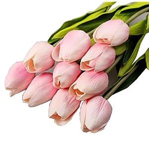 Mandy 10pcs Tulip Artificial Flower Bouquet Home Decor (pink) 36