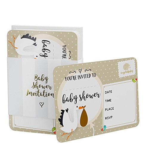 [Flash Sale] Baby Shower Invitation Cozy Hedgehog - Set of 25 Luxury, Gender-Neutral Cards with White Fitted envelopes. Perfect for Baby Girls and Boys. Fill in The time, Date, Place, and RSVP ()