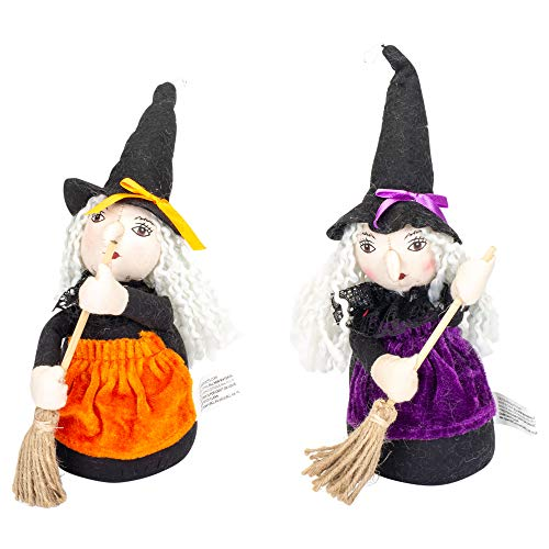 (Delton Wicked Witches with Brooms 9 x 7 Inch Weighted Shelf Sitting Halloween Décor Set of)