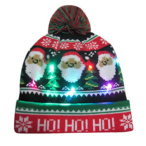 Soft Knit Hat For Christmas Party Holiday LED Light Up Cap Hat Hairball Ugly Sweater (G, Multicolor)