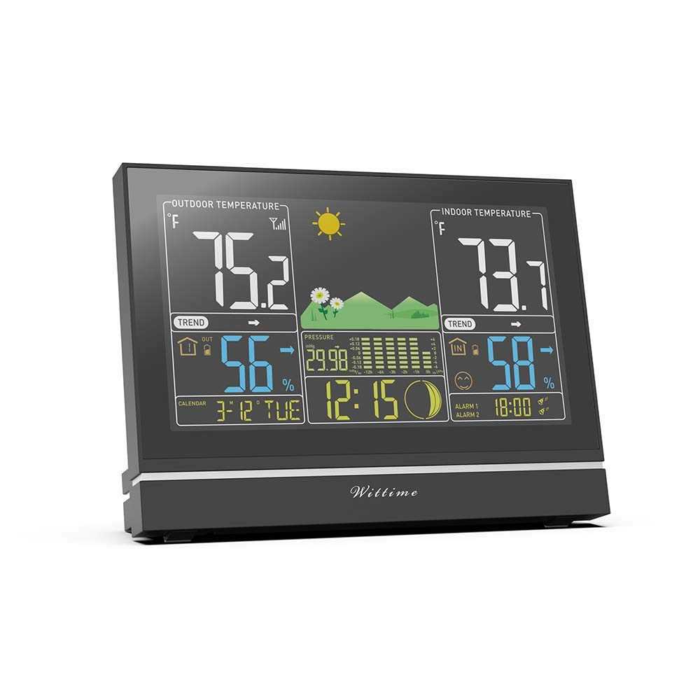 Wittime Latest 2076 Large Screen Weather Station, Real-time High Precision Temperature and Humidity, Weather Forecast and Barometer