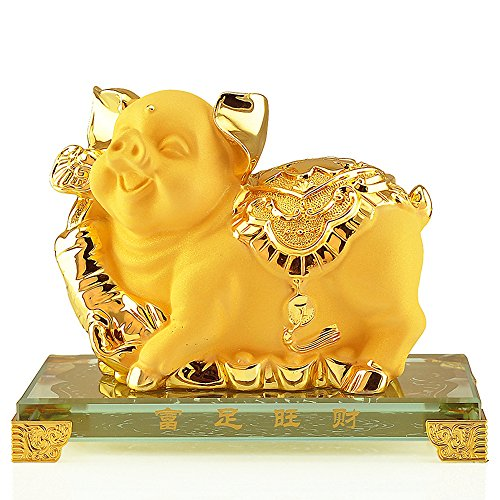 Wenmily 2019 Chinese Zodiac Pig Year Golden Resin Collectible Figurines Table Decor Statue