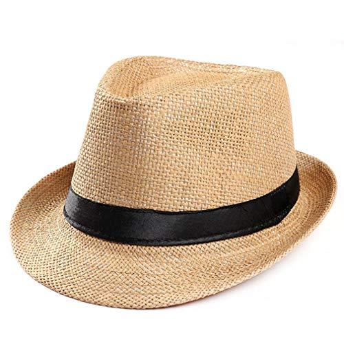 Classic Straw Fedora (Men's Classic Manhattan Structured Gangster Trilby Straw Hat Short Brim Panama Hat (Khaki, Free Size))
