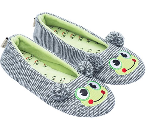 ofoot Womens Ballerina Fluffy Knit Scuff Slippers,Cute Novelty Animal Face Anti-Slip Rubber Sole House Flat Shoes(M/L 7-8 B(M) US, Gray Frog) (Fuzzy Frog Slippers)