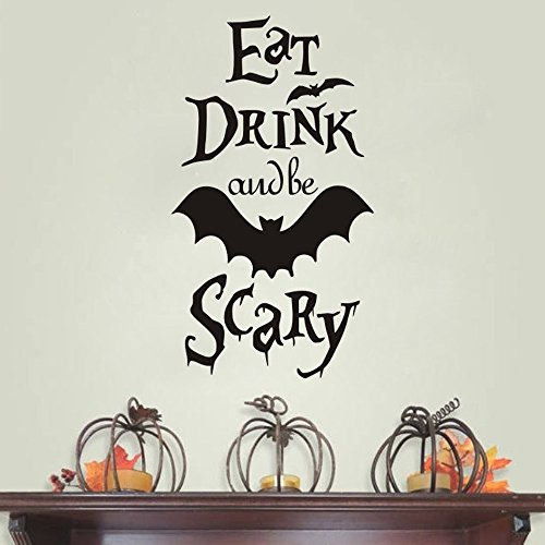 FlWallD Halloween Wall Decals Eat Drink and Be Scary Flying Bat Stickers Boys Room Living Room Bedroom Vinyl Art Decor -