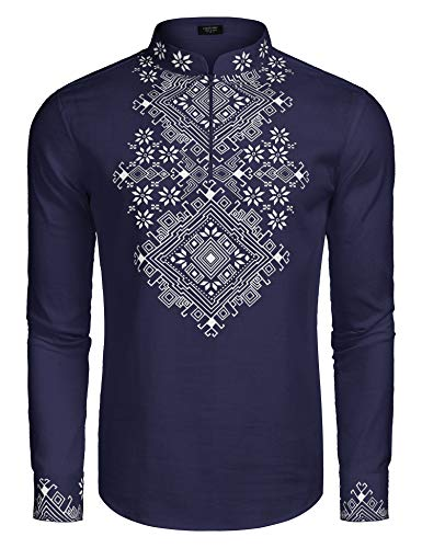 COOFANDY Men's Slim Fit Hippie Shirt Long Sleeve Floral Print Casual Zip Up Cotton Beach Party Henley T Shirt Blue