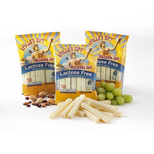 Mozzarella String (Apollo's Gift Lactose Free Probiotic Rich Mozzarella Jack Cheese Snack Sticks (Mozzarella Jack, 3/13.5 oz. (18-.75 oz. Snack Sticks)) )