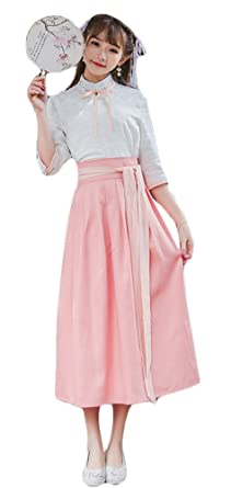 142dacc84 Plaid&Plain Women's Cosplay Chinese Traditional Hanfu Vintage A-Line  Pleated Skirt ...