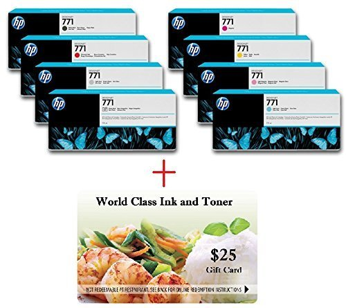 WCI© Best Value Pack® of All (8) Genuine Original HP 771/771a Ink Cartridges + a FREE $25 Restaurant Gift Certificate. For Use In: HP DesignJet Z6200/Z6600/Z6800 Series.
