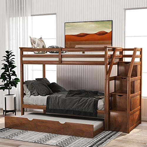 Merax Solid Wood Twin-Over-Twin Bunk Bed