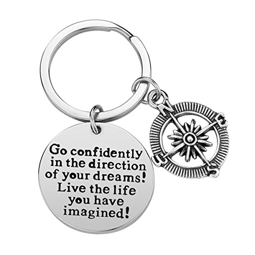 Inspirational Keychain Gifts - Go Confidently in The Direction of Your Dreams Live The Life You Have Imagined Compass Jewelry Graduation Gift Birthday Gift -