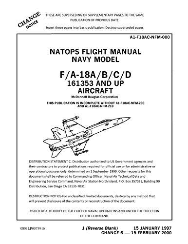 US Navy McDonnell Douglas fighter F/A-18A B C D A1-F18AC-NFM-000 Chg 6 2000 BBS NATOPS Flight Manual