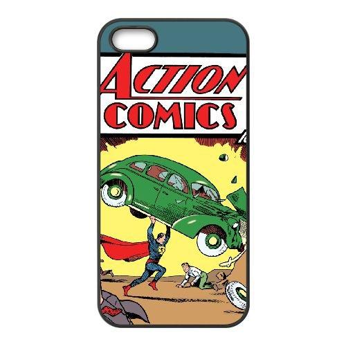 Action Comics 001 coque iPhone 5 5S cellulaire cas coque de téléphone cas téléphone cellulaire noir couvercle EOKXLLNCD21336
