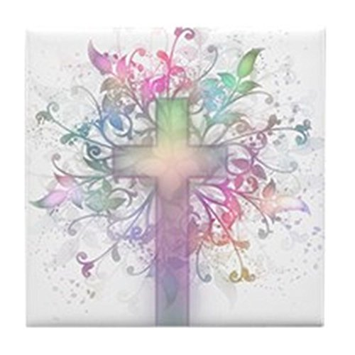 (CafePress - Rainbow Floral Cross - Tile Coaster, Drink Coaster, Small Trivet)