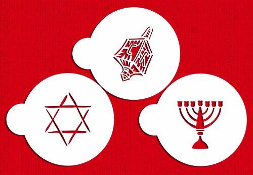 Designer Stencils C183 Jewish Symbols Cookie and Cupcake Stencils (Dreidel, Star of David, Menorah), Beige/semi-transparent