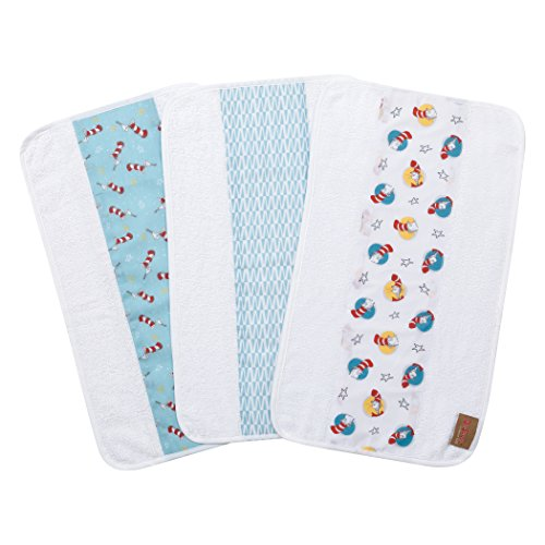 Trend Lab Dr. Seuss by Cat in The Hat 3 Pack Jumbo Burp Cloth Set, Red/Blue/Yellow/Gray/White