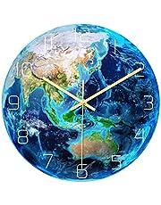 ساعة حائط صامتة مضيئة في الظلام من الاكريليك ساعة على شكل منطقة آسيوية ساعة لغرفة الطعام المطبخ وغرفة النوم بدون بطارية حجم M