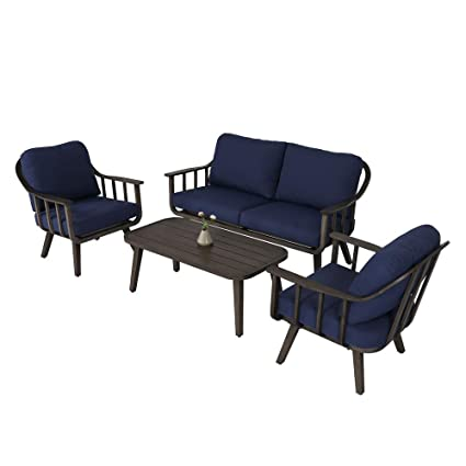 Patio Time 4 PC Outdoor Furniture Set Garden Lawn Pool Backyard Outdoor  Sofa Aluminum Conversation Set - Amazon.com : Patio Time 4 PC Outdoor Furniture Set Garden Lawn Pool