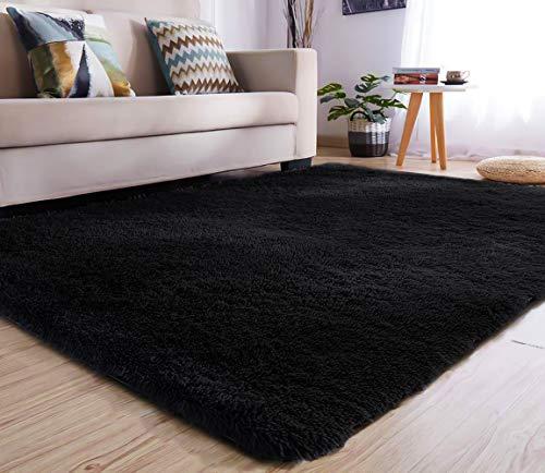 YJ.GWL Soft Shaggy Area Rugs for Bedroom Kids Room Children Playroom Non-Slip Living Room Carpets Nursery Mat Home Decor 4 x 5.3 Feet (Black)