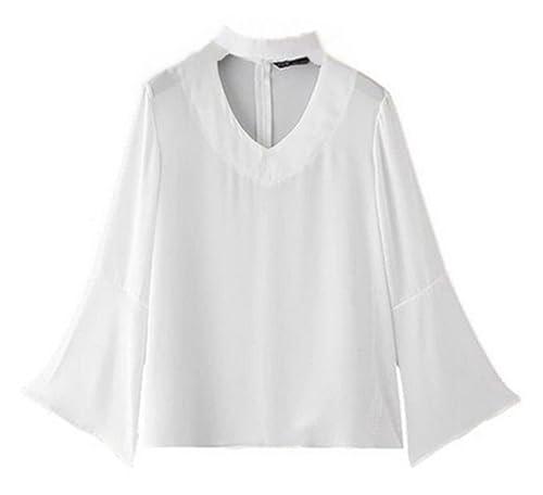 Moda Blusa Mujeres Vendaje Manga Larga T-Shirt Ocasionales Tops De Cuello En V Universidad Knitted C...