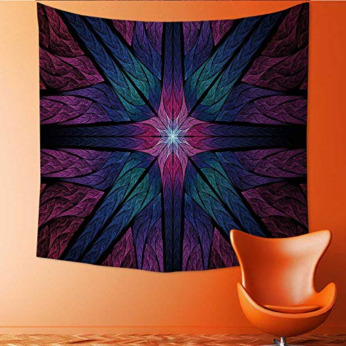 UHOO2018 Wall Hanging Tapestries Colorful Symmetric Stained Glass Fractal Computer generated Abstract Large tablecloths 32W x 32L Inch