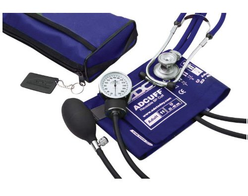 ADC Pro s Combo II SR Adult Pocket Aneroid Scope Kit with Prosphyg 768 Blood Pressure Sphygmomanometer and Adscope 641 Sprague Stethoscope with Nylon Carrying Case, Royal Blue