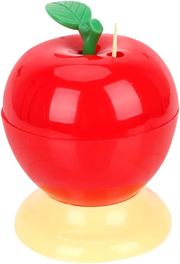 S-Chihir Toothpick Holder Automatic Toothpick Dispenser Press Type Box, Toothpick Box Automatic Press Type Home Decoration Fruit Apple Shape Toothpick Holder Plastic