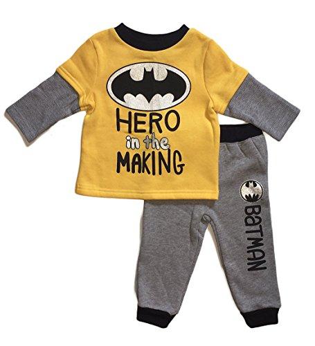 DC Comics Batman Baby Boys Shirt & Pant Outfit Set (18 (Bat Man Outfit)
