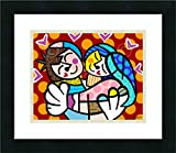 Framed Art Print 'Embrace' by Romero Britto
