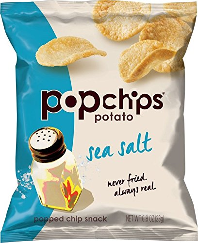 Price comparison product image Popchips Potato Chips,  Sea Salt Flavor,  0.8oz (Pack of 24)