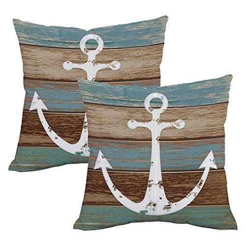 Rustic Nautical Decor (BLEUM CADE Nautical Anchor Rustic Wood Throw Pillow Cover Anchor Throw Pillow Case Set of 2 Decorative Pillow Case for Sofa Couch Bed Office)
