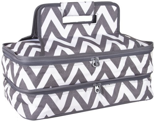Ever Moda Chevron Thermal Insulated Casserole Carrier Bag 2 Compartments (Grey)