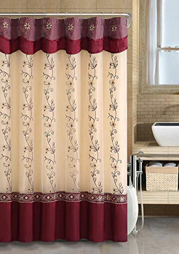 - GoodGram VCNY Luxurious Daphne Embroidered Sheer & Taffeta Fabric Shower Curtains by Assorted Colors (Burgundy)