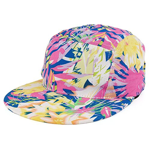 Trendy Apparel Shop 5-Panel Lightweight Unstructured Tropical Print Flatbill Snapback Cap - Fuchsia - - Tropical Hat