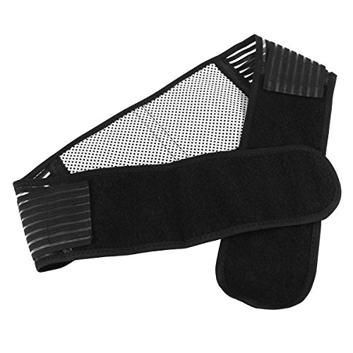 Tinksky Portable Adjustable Elastic Infrared Self-heating Magnetic Therapy Back Waist Support Lumbar Brace Belt Double Pull Strap Lower Pain Massager - Size M (Black)