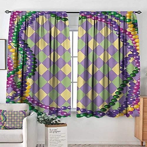 Mozenou Mardi Gras Patterned Drape for Glass Door Mardi Gras Celebration Beads in Vibrant Graphic Style on Diamond Line Pattern Waterproof Window Curtain 63