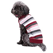 EraseSIZE Pet Dog Winter Striped Knitted Buttons Jumper Puppy Sweater, Comfortable Soft and Warm Apparel from Size XXS - XXL, Suitable Clothes for Small Medium Large Dogs Cats (XS, Mulitcolor)