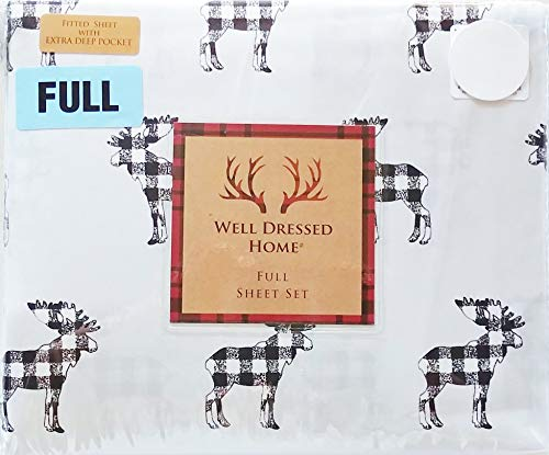 Poster Bed Set Size Full (Well Dressed Home Plaid Black & White w/Grey Background Moose Elk Print Full Size Sheet Set (Flat, Fitted, Pillowcases) Cabin Lodge Hunting Nature)