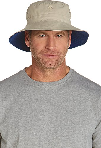 Coolibar UPF 50+ Men's Reversible Bucket Hat - Sun Protective,Large/X-Large,Tan/Navy