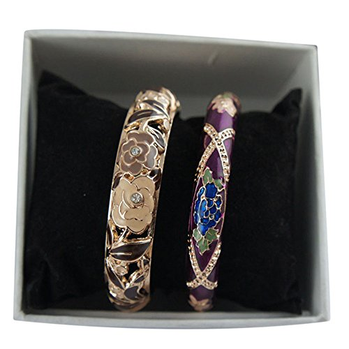 Hollow Hinged Bangle (UJOY Vintage Bangle Gold Flower Hollow Carved Zinc Alloy Hinged 60mm Cloisonne Jewelry Box for Women 88A10-55A128 black-purple)