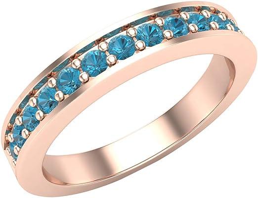 anillo oro rosa con 1 gemas azules