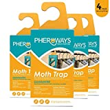 Pheroways Clothes Moth Traps | Safe Moth Traps for Closet Clothing & Carpet Moth Traps | Effective Guaranteed (4 Pack)