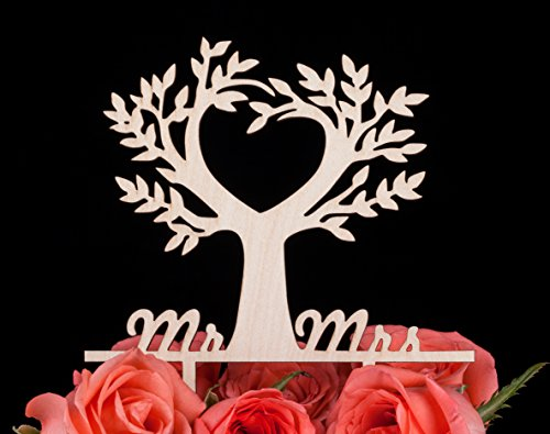 LOVENJOY with Gift Box Mr and Mrs Wedding Engagement Cake Topper Tree Rustic Wood (5.5-inch)