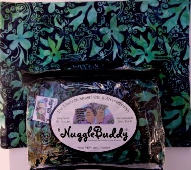 'NUGGLEBUDDY Microwavable Moist Heat & Aromatherapy Organic Rice Pack. RAINFOREST BATIK Fabric with SEA LAVENDER Aromatherapy.