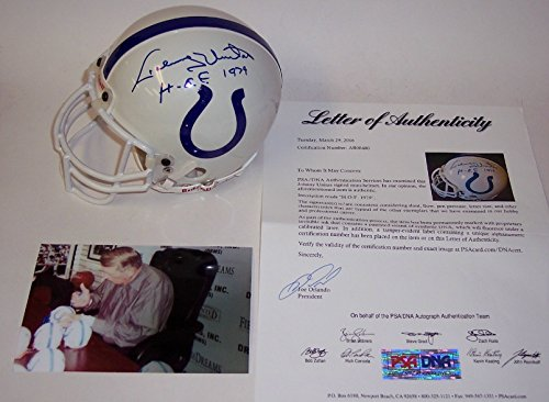 Johnny Unitas Autographed Hand Signed Baltimore Colts Mini Football Helmet - with Hall of Fame 1979 - PSA/DNA