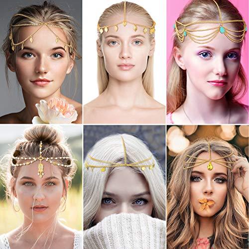 6 Pieces Head Chain Gold Bohemian Headpiece Hair Chain Jewelry for Halloween Women Girls Hair Accessories