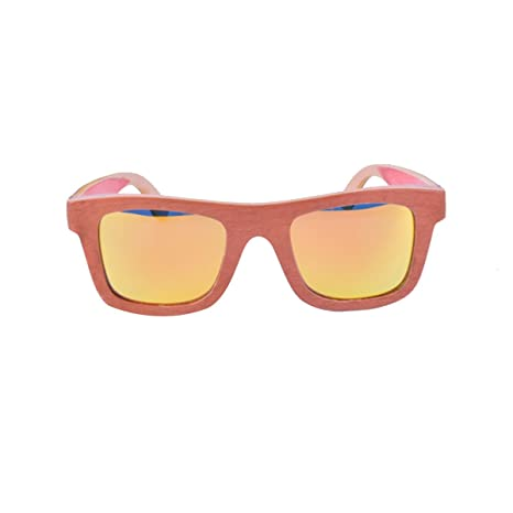 HAOYUXIANG Mode Außenfarbe Bambus Skateboard Holz Sonnenbrille,Yellow