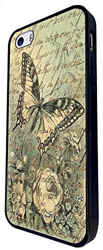 690 - Vintage Shabby Chic Floral Roses Butterfly Design iphone SE - 2016 Coque Fashion Trend Case Coque Protection Cover plastique et métal - Noir