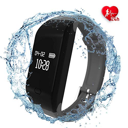 Fitpolo Health Fitness Tracker HR - Heart Rate Monitor Wristband,IP67 Waterproof Smart Bracelet with Sleep Monitor, Step Counter, Calorie Counter, Pedometer for Kids Women Men (Grey)