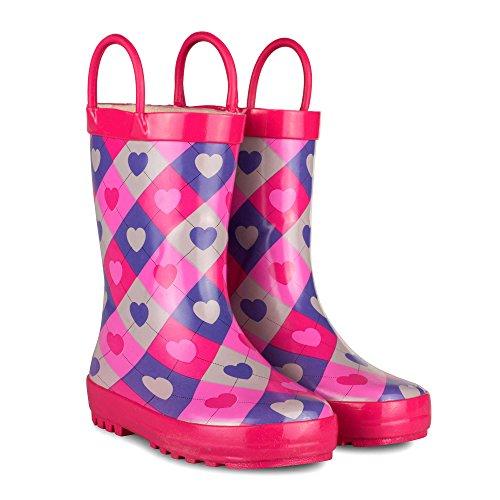 [SBR016P-HEARTPRINT-Y13] Girls Rain Boots: Plaid Heart Print, Kids Boot Size 13